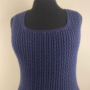 Cable knit vest by Jones New York stretchy blue